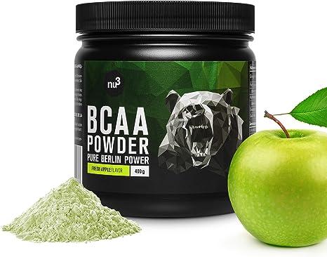 nu3 BCAA en polvo - 400g de aminoácidos ramificados con sabor manzana - Proporción óptima de leucina, isoleucina y valina 2:1:1 - Suplemento ...