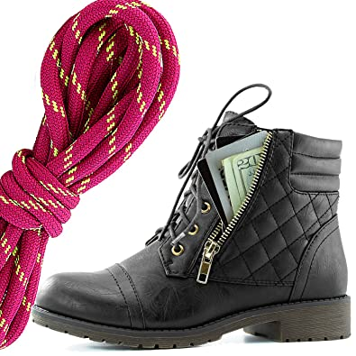 Women's Military Lace Up Buckle Combat Boots Ankle Mid Calf Fold-Down Exclusive Credit Card Pocket Hot Pink Lime Black PU 9.5 2A(N) US