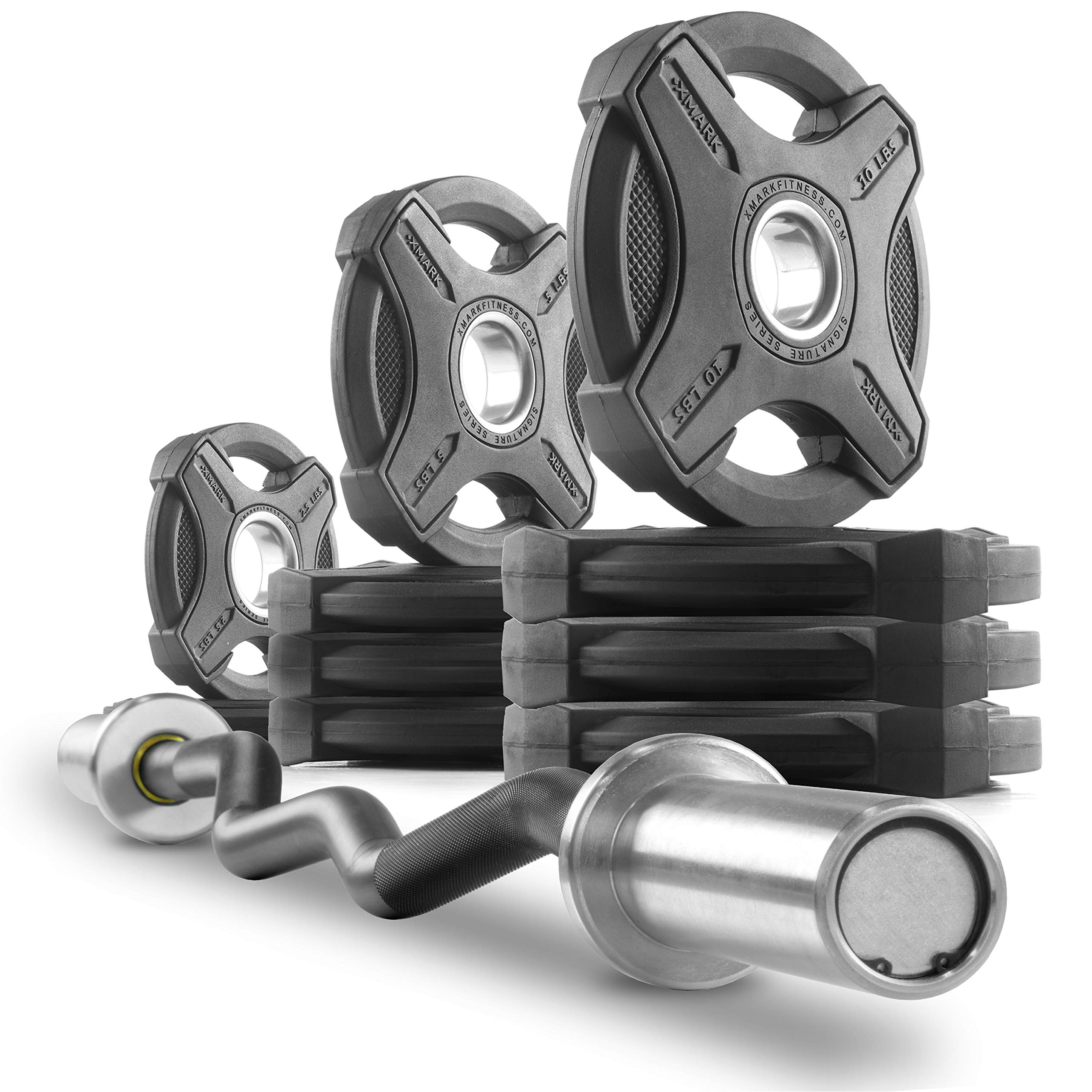 XMark Commercial Hard Chrome Olympic EZ Curl Bar Brass Bushings with Signature 65 lb. Olympic Plate Weight Sets, Great for Bicep Curl and Triceps Extension