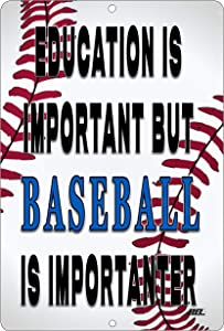 Rogue River Tactical Funny Baseball Player Metal Tin Sign Wall Decor Man Cave Bar Education is Important