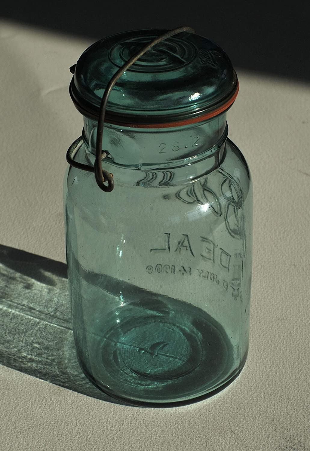 Amazon Com Antique Green Canning Jar Glass Lid Bail Patented July