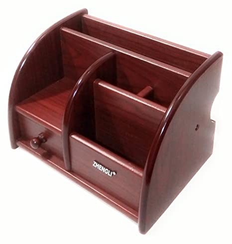 Deepa Enterprise Polished Wooden Pen Stand Big Size with Drawer, Mobile Holder & Remote Stand for Office Desk, Table Accessories All in One Multipurpose Desk Organizer