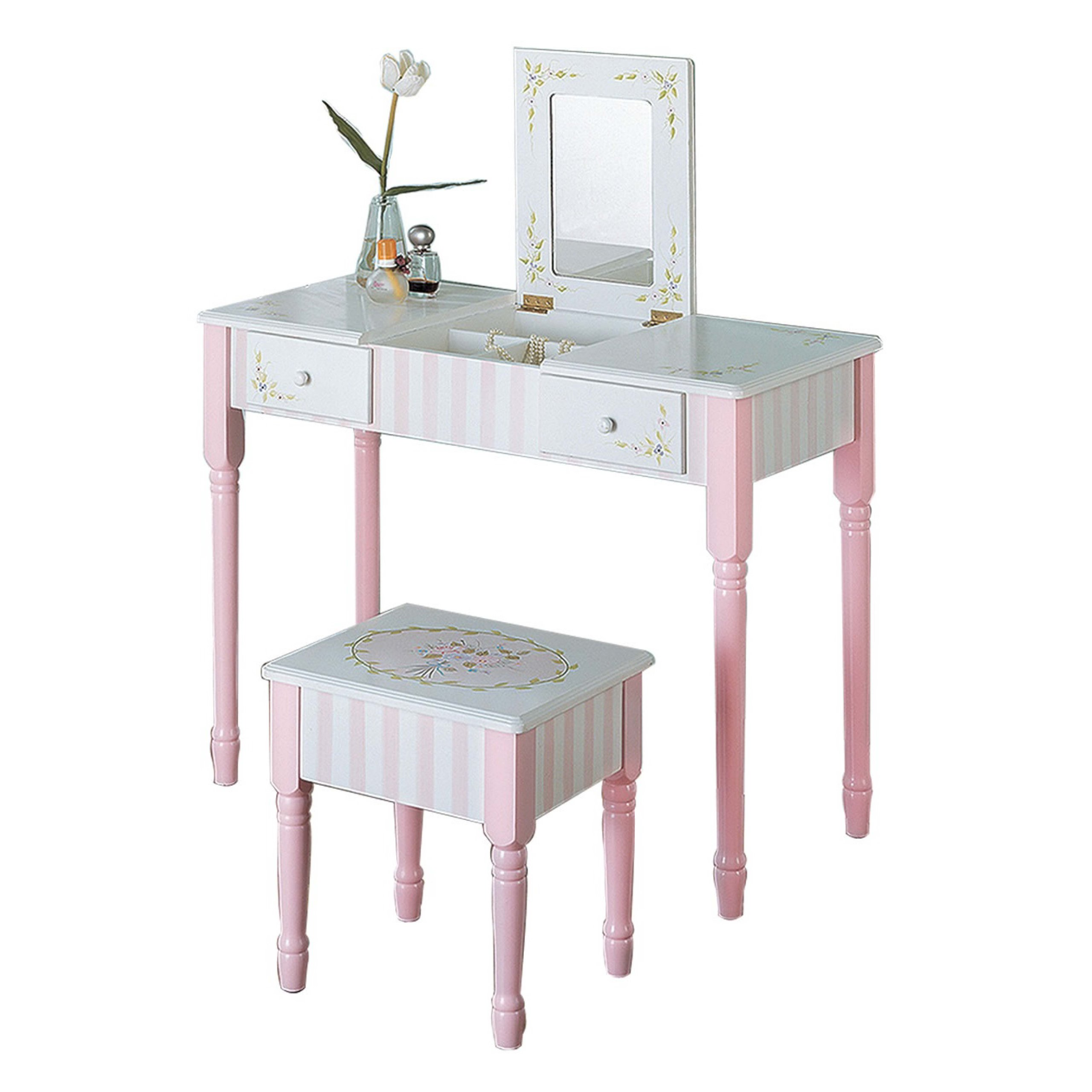 Bouquet Thematic Kids Flip Top Mirror Vanity Table and Stool Set Fantasy Fields Lead Free Water-based Paint Imagination Inspiring Hand Crafted /& Hand Painted Details   Non-Toxic