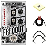 Digitech FreqOut Natural Feedback Creation Guitar Effects Pedal with 2 Path Cables for Guitars, Instrument Cable and Zorro Sounds instrument cleaning cloth