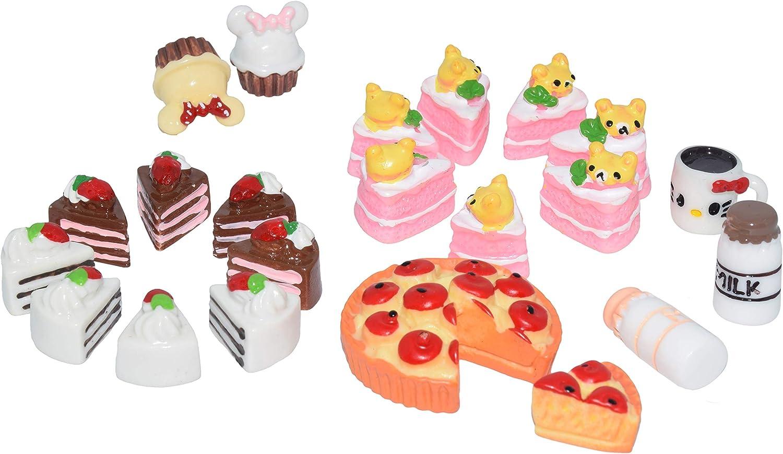 AMOBESTER Dollhouse Play Food Cakes Dessert Miniature Pretend Play Mini Kitchen Food for Kids