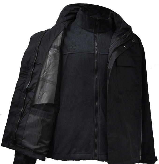 ZICO ESPAÑA Chaqueta Triclimate Hombre 3 en 1 Aislante Térmica Cortavientos Desmontable Negro Talla XL