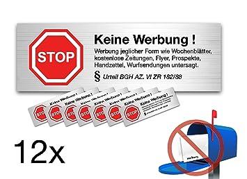 12x Aufkleber Schild Sticker keine Werbung kostenlose Zeitungen ...