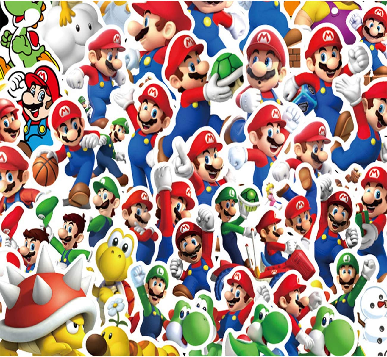Super Mario Stickers 100pcs Video Game Cartoon Stickers Water Bottle Stickers for Teens Adults Laptop Skateboard Guitar Luggage Vinyl Decal Stickers