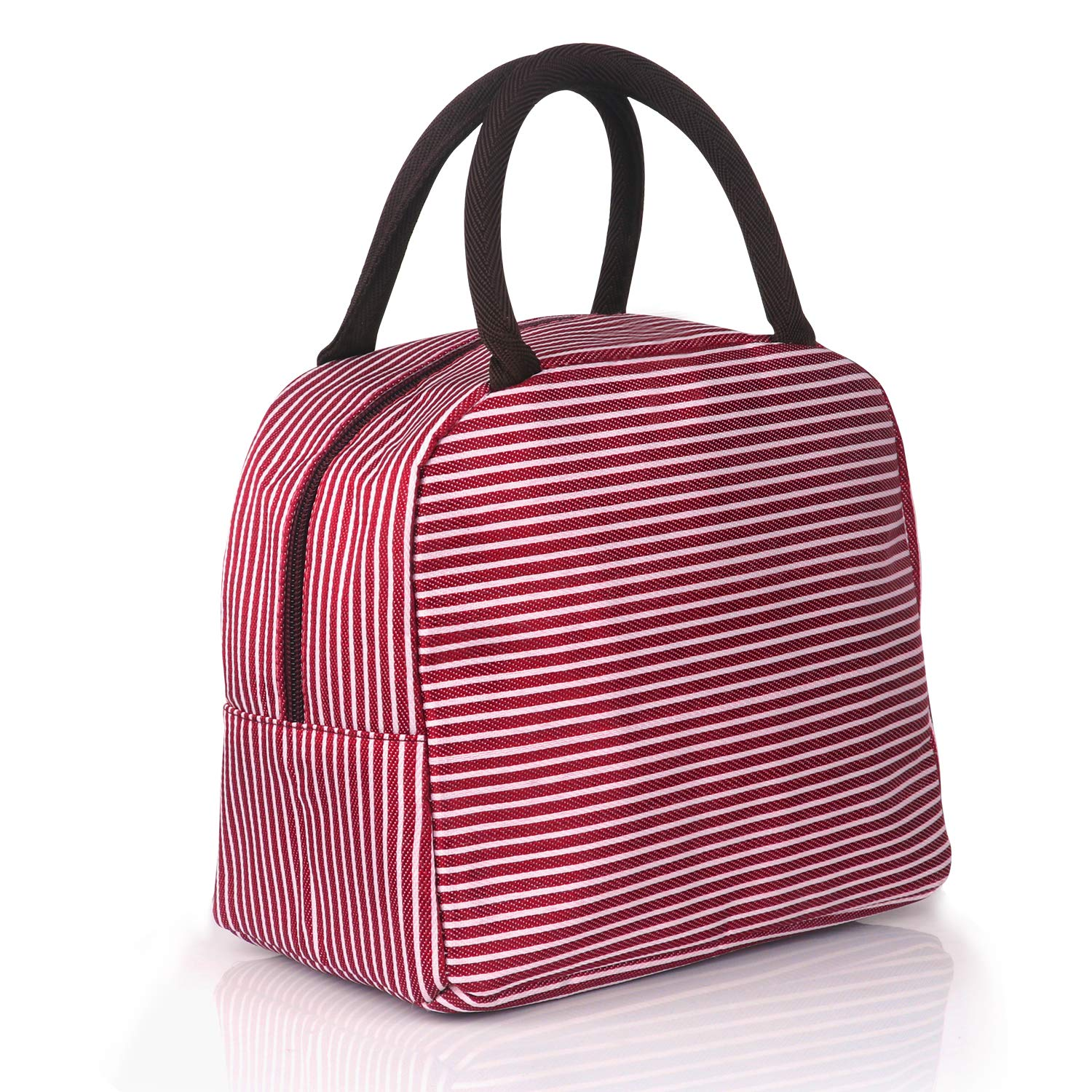 QTaker Reusable zipper Lunch Bag Tote Bag Lunch box Lunch Organizer Lunch Holder Lunch Container( stripes) red