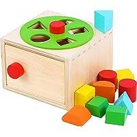 TOWO Wooden Shape Sorter - Sorting Box with Latch Lock - Rotating Wheel -Screw- and Shape Blocks- Sorting Cube…