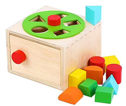 Amazoncom Toys Of Wood Oxford Wooden Shape Sorter Box With