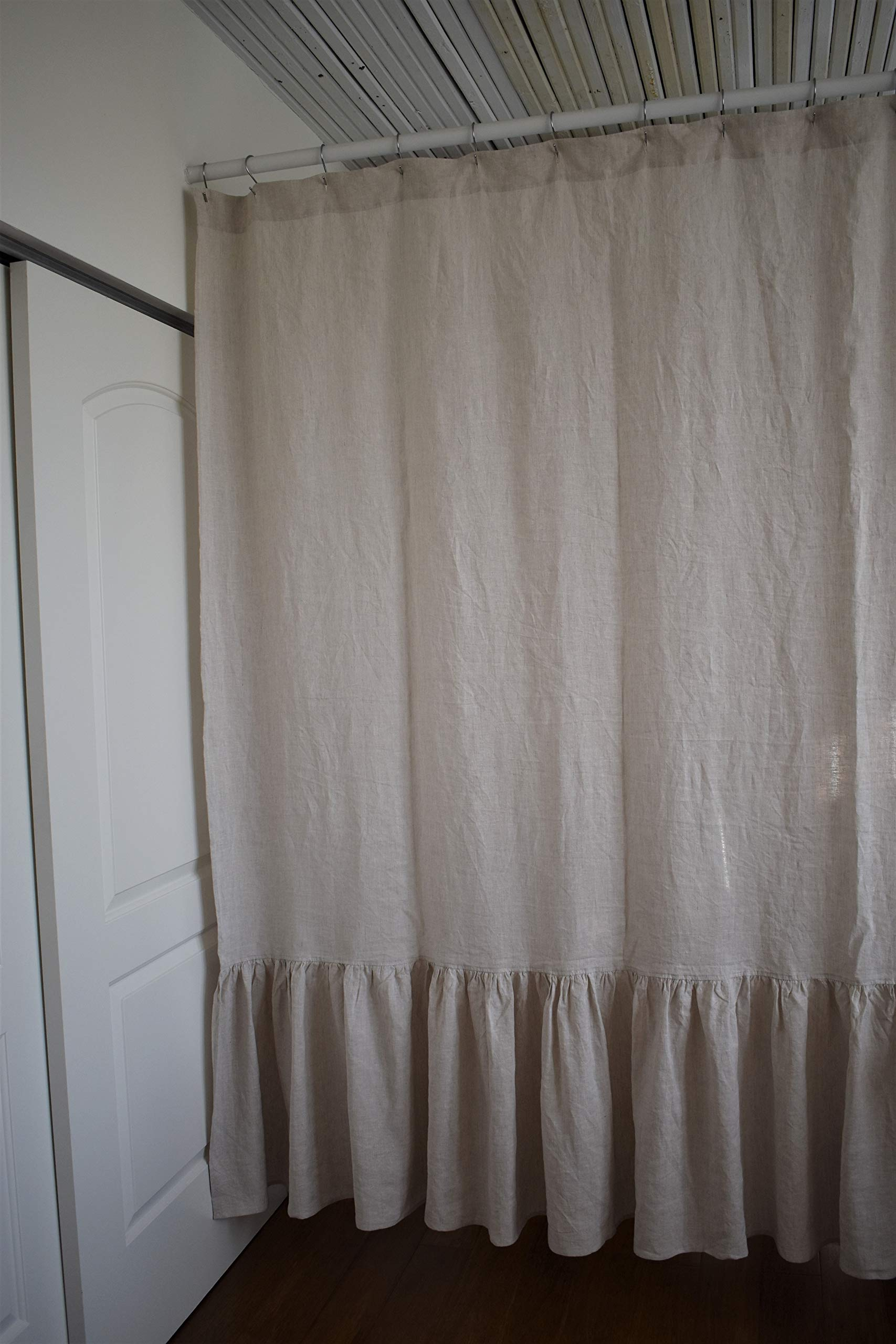 Low Profile Luxury Pure Flax Linen Shower Curtain with Pleated Bottom 72'' x 84'', in Natural Linen Color (72''(W) x 84''(H))