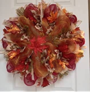 maple leaves autumn or harvest deco mesh handmade wreath 20 inches