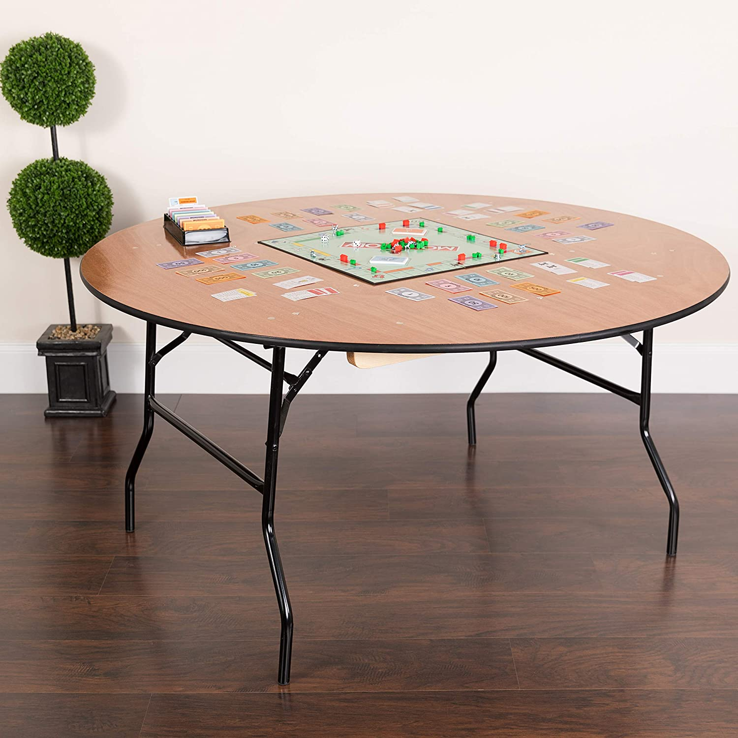 Flash Furniture 5-Foot Round Wood Folding Banquet Table with Clear Coated Finished Top