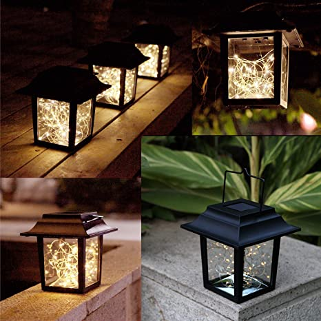 Sunlane Solar Hanging Lantern Lights Outdoor,Solar Lantern With Handle And  30 Warm White LEDs