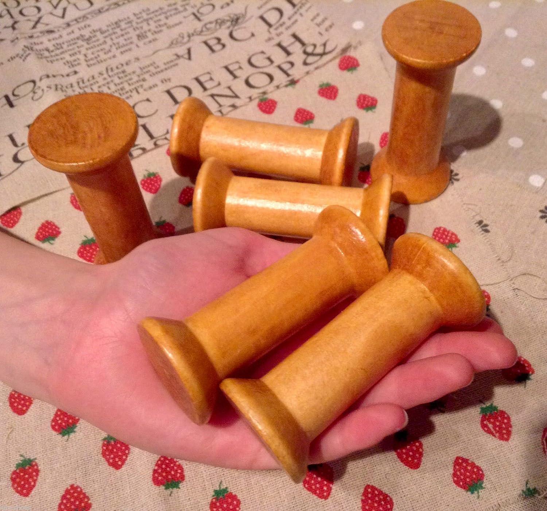 5 Bobine-antique-Rocchetti in legno in stile Vintage, con porta-nastro (3, 7,62 cm x 8 cm, marrone homebuy