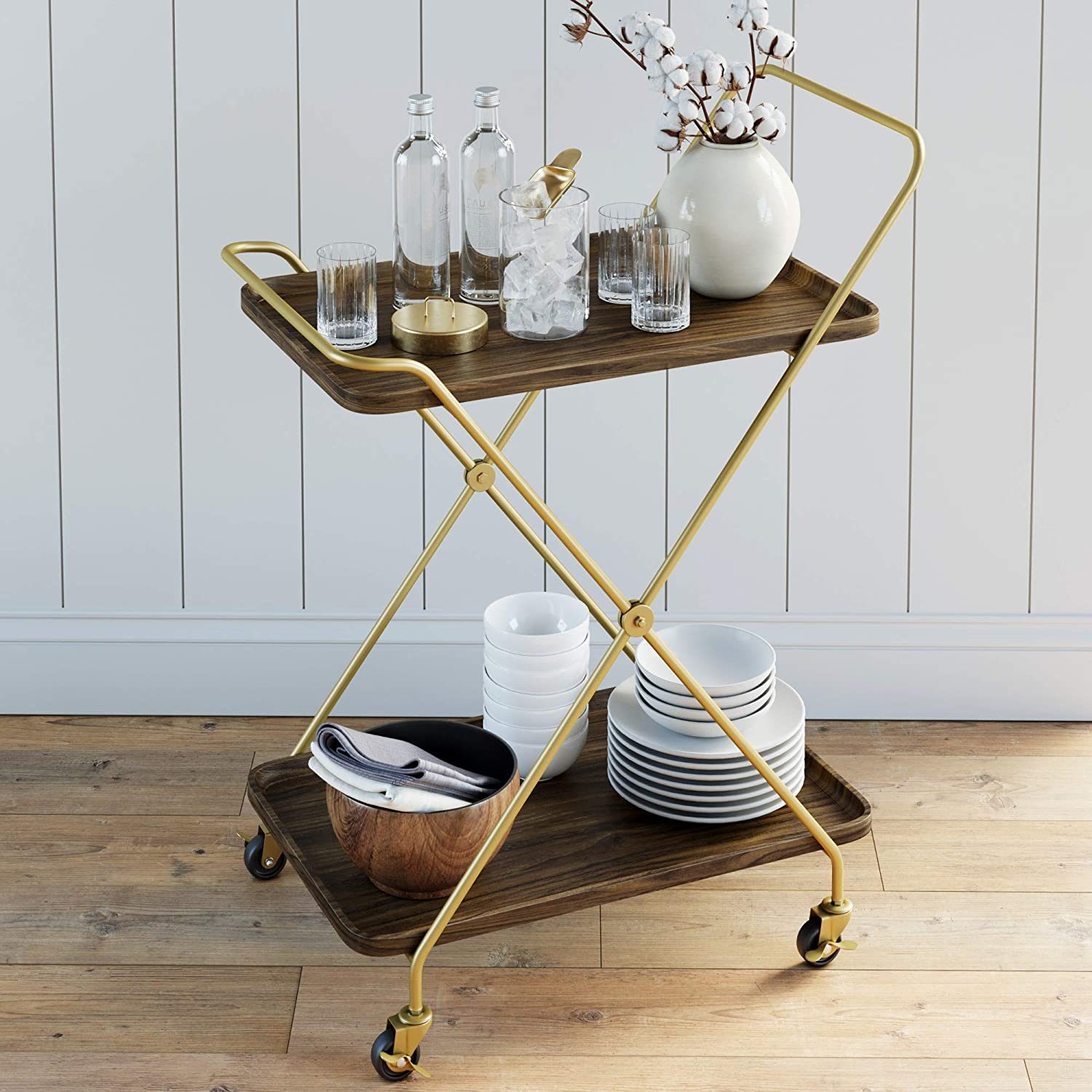 Nathan James Hallie Retro Mid-Century, Rectangle, Rolling Bar Serving Cart with 2-Tier Trays and Powder Coated Metal Finish, Dark Walnut/Gold