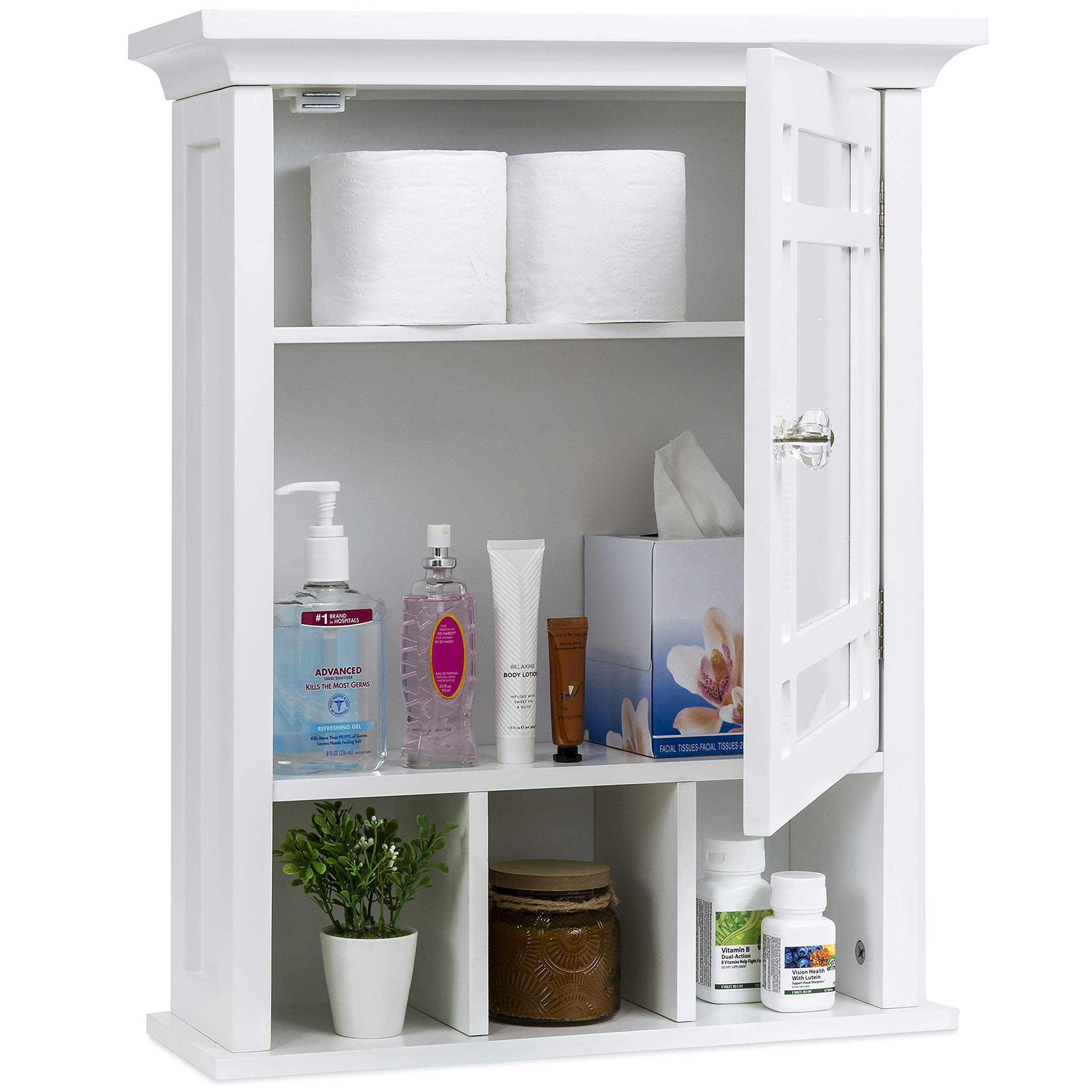 Best Choice Products Home Bathroom Vanity Mirror Wall Storage Cabinet, White by Best Choice Products