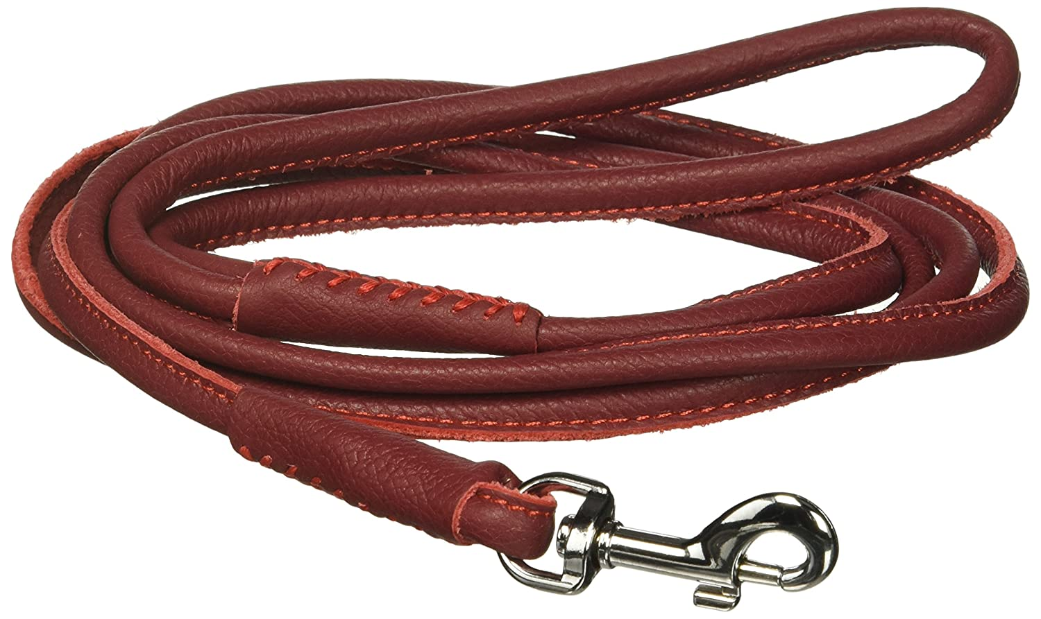 Red W1 4\ Red W1 4\ Dogline Soft and Padded Rolled Round Leather Leash for Dogs W1 4  L72 , Red