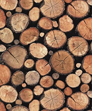 REALISTIC NATURAL EFFECT CHOPPED OR STACKED LOGS WALLPAPER FEATURE ...