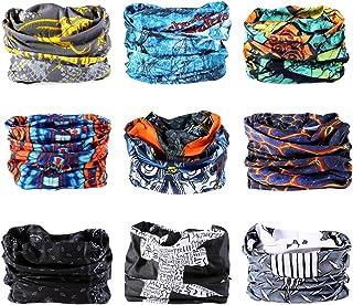 Kingree 9PCS Headbands, Outdoor Multifunctional Headwear, Sports Magic Scarf, High Elastic Headband with UV Resistance, Athletic Headwrap, Mens Sweatband, Womens Hairband