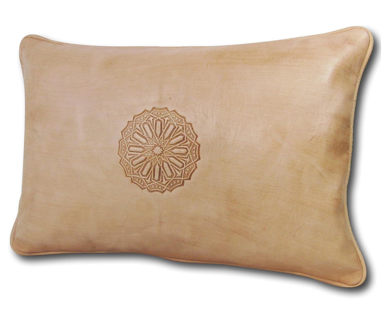 ALMADIH Lederkissen XL 50x35 cm weiß creme - 100% traditionelle Handarbeit aus Lammleder - echt Leder Kissen Sofakissen Dekokissen Zierkissen orientalische Lounge Kissen mit Füllung naturfarben (Kissen 50x35 weiß)