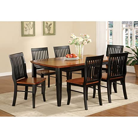 Furniture of America Burwood Antique Oak and Black Mission Style 7-piece  Dining Set - Amazon.com - Furniture Of America Burwood Antique Oak And Black