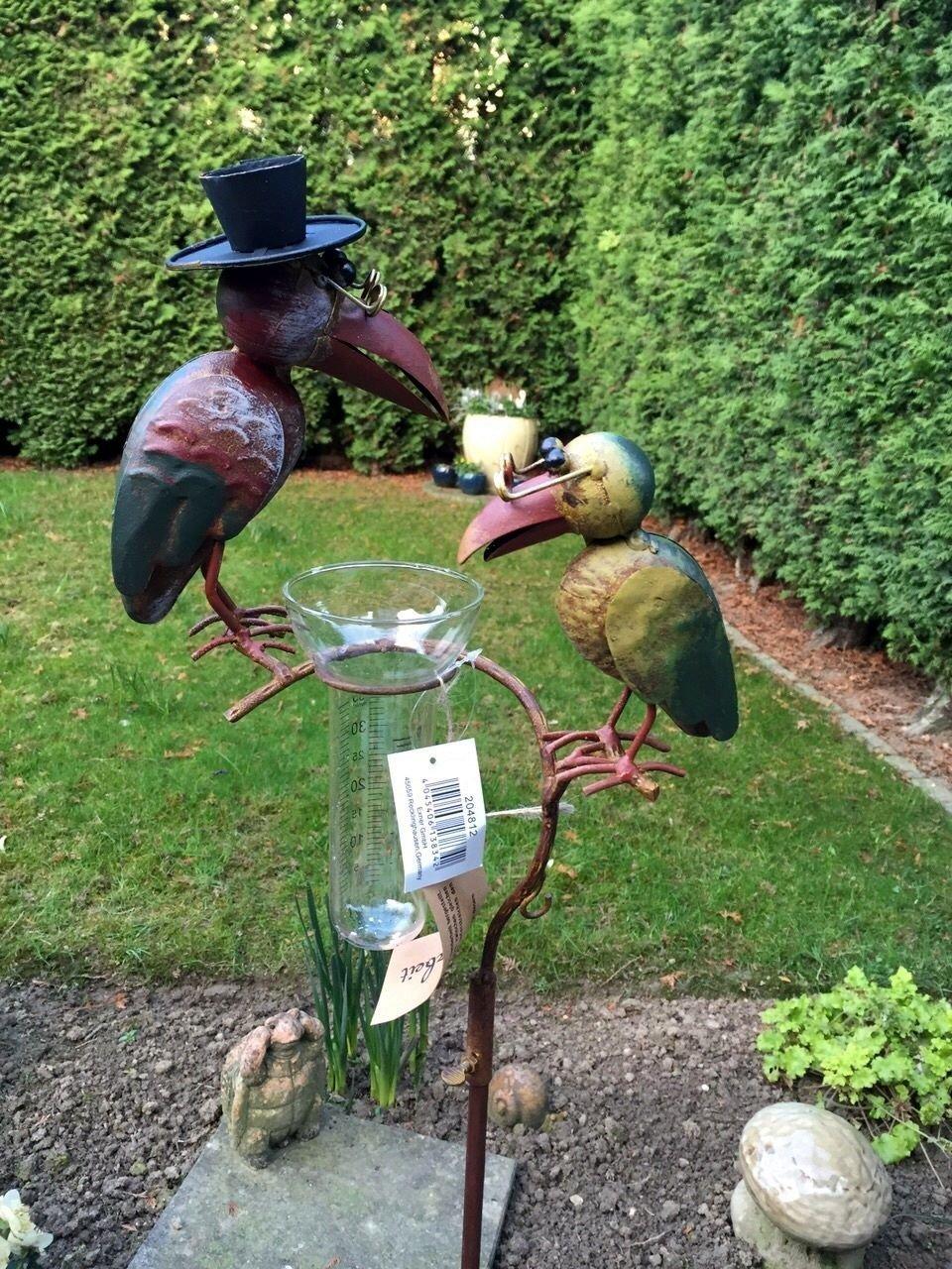 Regenmesser Gartenstecker Rabenpaar Vogel Metall Glas Bunt H 136 cm° Noname