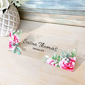 "Personalised Desk Name Plate Acrylic Wall Name Plate, Acrylic Sign Holder with Standoff Barrels, Custom Sign Door Name Plates for Office Home Classroom Teacher 3""x8"" - Rose Pink"