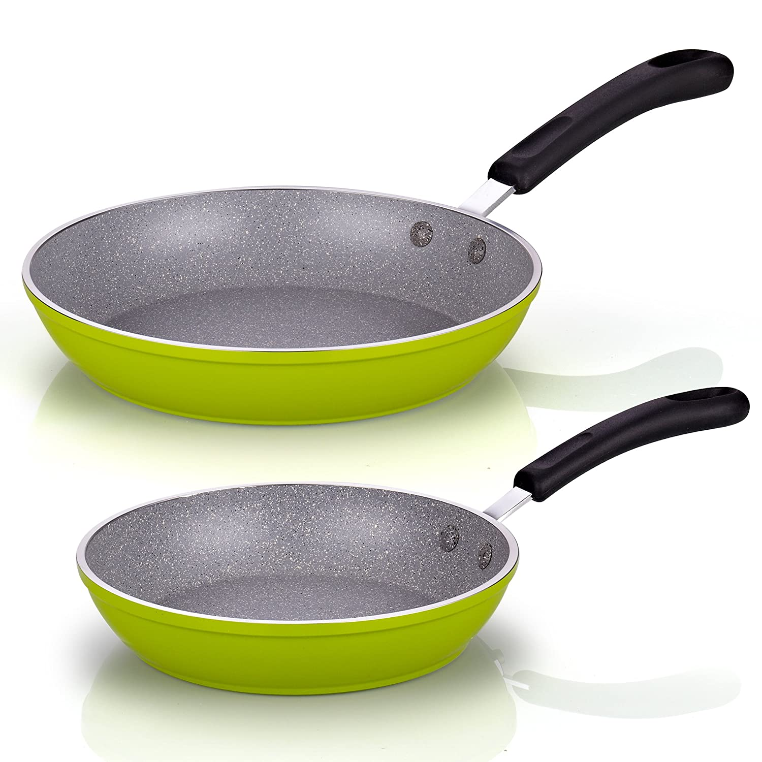 Cook N Home 8 and 10-Inch Nonstick Heavy Gauge Fry Pan Saute Skillet Set, Green