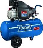 Scheppach 5906103901 Kompressor HC54 | + Tank 50l, Druckminderer, Kupplungen, Manometer / Einzylinder / Fahrvorrichtung / Leistungsstark ( Abgabe 220 l/min / 41 kg / 230 V/ 8 Bar/ 1500 Watt)