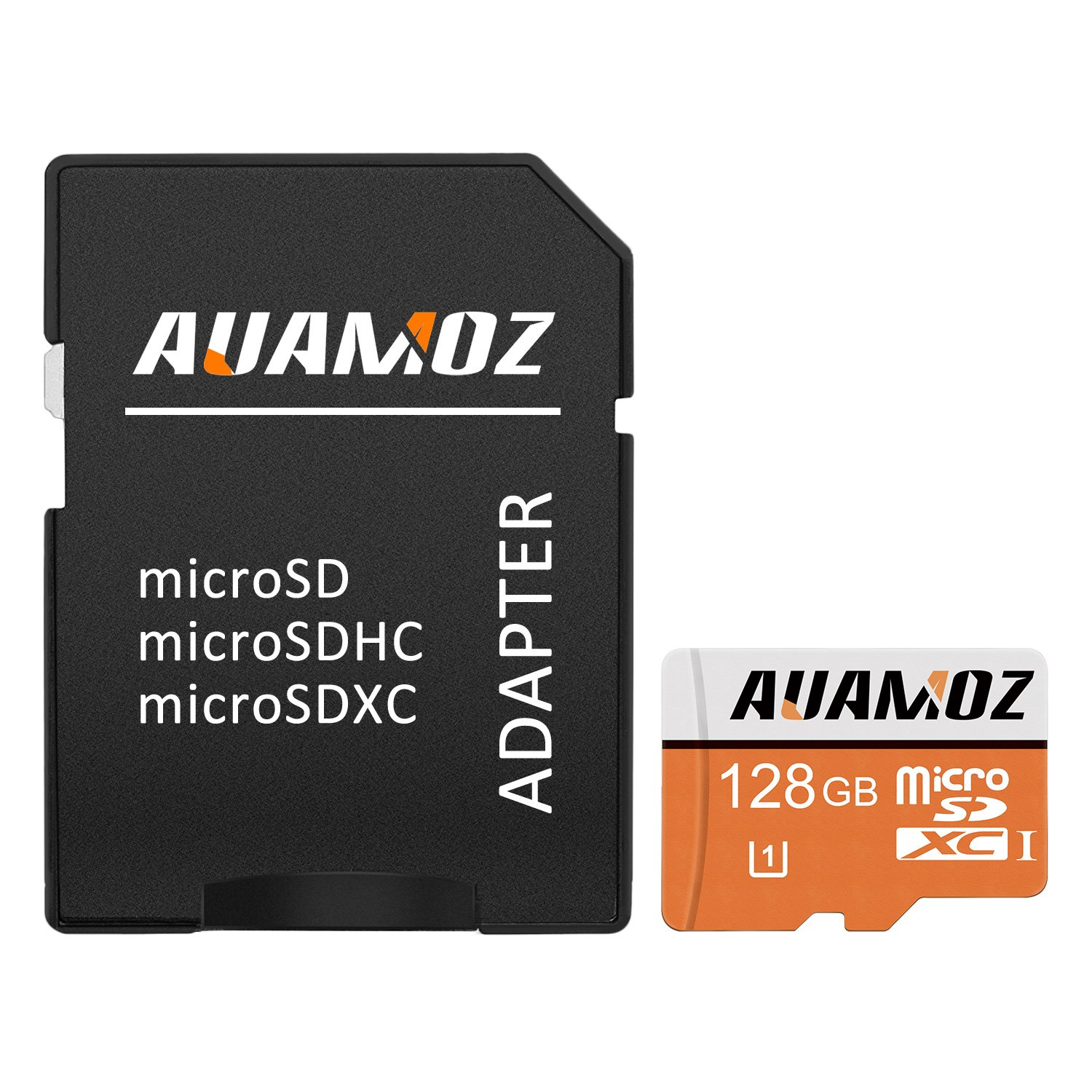 Micro SD Card 128GB,AUAMOZ Micro SDXC Class 10 UHS-I High Speed Memory Card for Phone,Tablet and PCs - with Adapter