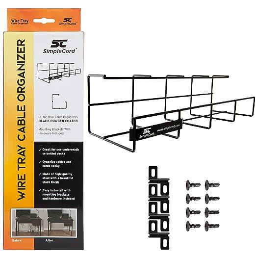 Amazon.com: Wire Tray Desk Cable Organizer II by SimpleCord - Cable ...