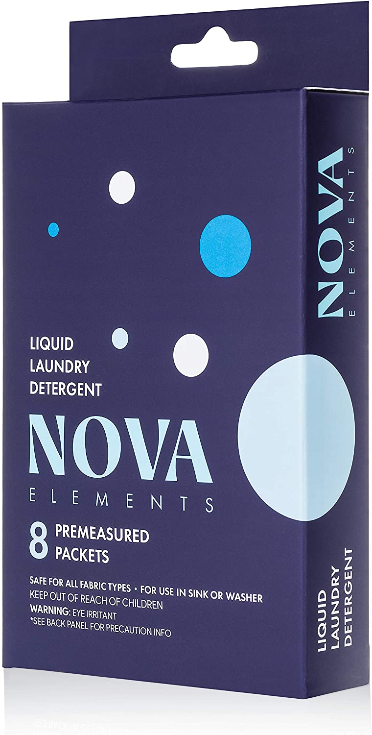 Nova Elements Travel Laundry Detergent Packets (8 Count) | Small Portable Liquid Hand Wash Laundry Detergent for Camping and Hotel use