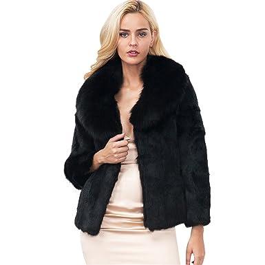 Longra Mujer Invierno Abrigo, Negro Prendas de Vestir Las Mujeres de otoño Invierno Elegante cálido Abrigo Largo de Piel sintética de Pelo Chaqueta ...