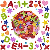451 Pcs 7 Rainbow Colors Letter Number Foam Stickers Alphabet Letter 0-9 Number Heart Circle Star Flower Stickers Foam Glitter Stickers Self-Adhesive for Kids Classroom Art Craft Supplies Activities