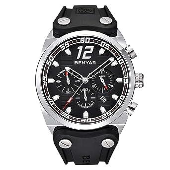 BENYAR Relojes Hombres Cronógrafo 3ATM Impermeable Deporte Moda Silicona Banda Silenciosa Case Movimiento de Cuarzo.: BENYAR: Amazon.es: Relojes
