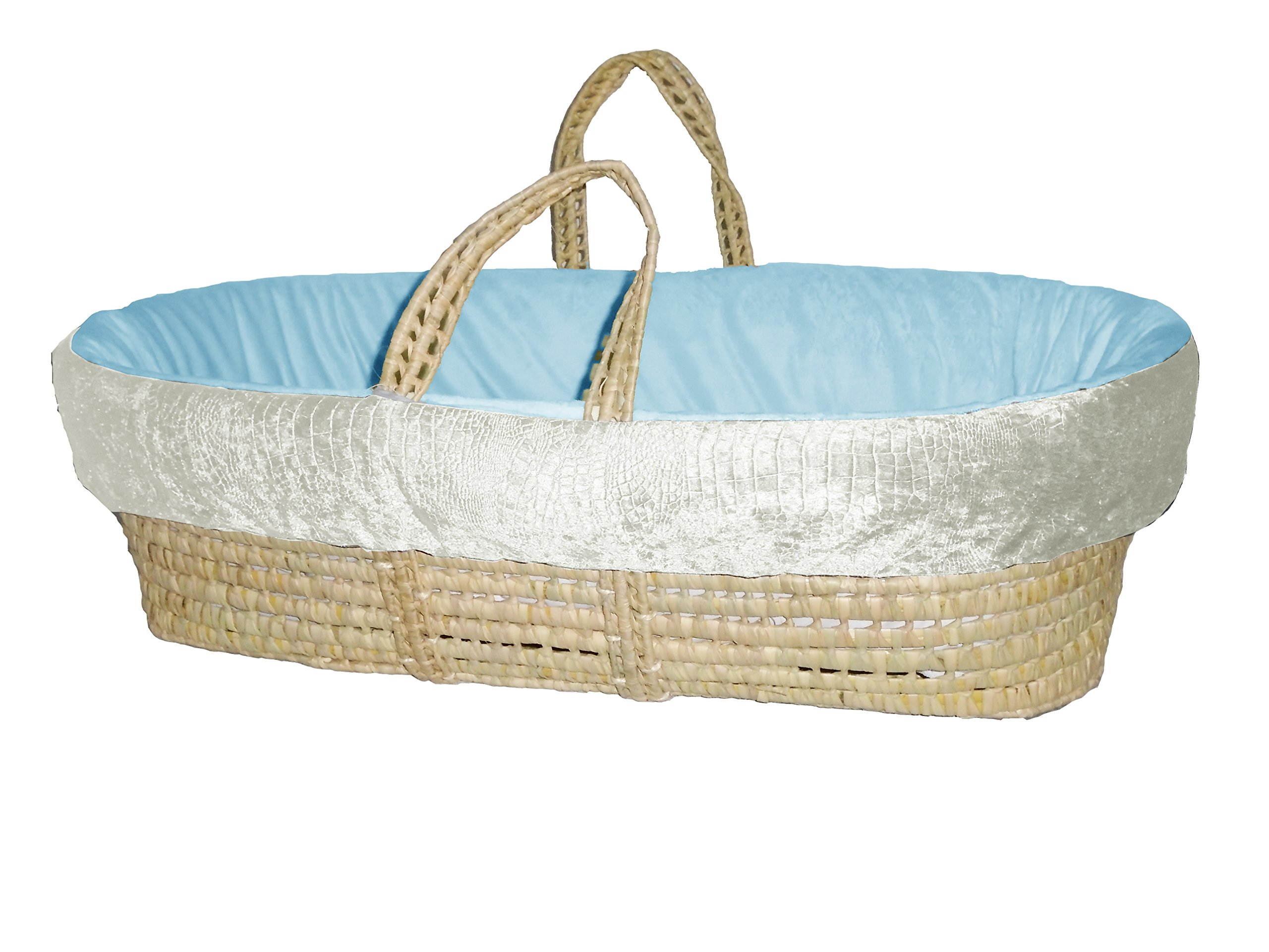 Baby Doll Bedding Croco Minky Moses Basket, Ivory/Blue by BabyDoll Bedding