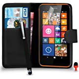 Nokia Lumia 635 Premium Leather Black Wallet Flip Case Cover Pouch + Big Touch Stylus Pen + RED 2 IN 1 Dust Stopper + Screen Protector & Polishing Cloth SVL2 BY SHUKAN®, (WALLET BLACK)