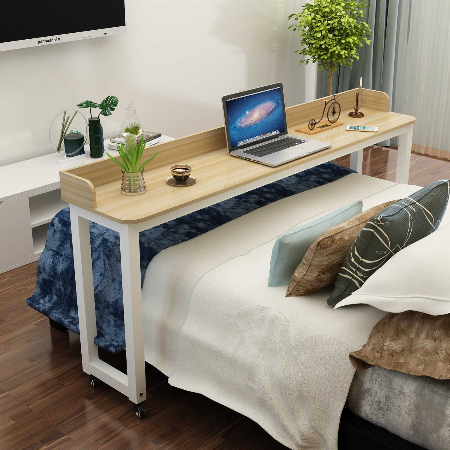 Galleon - Overbed Table On Wheels Rolling Bed Table Over ...