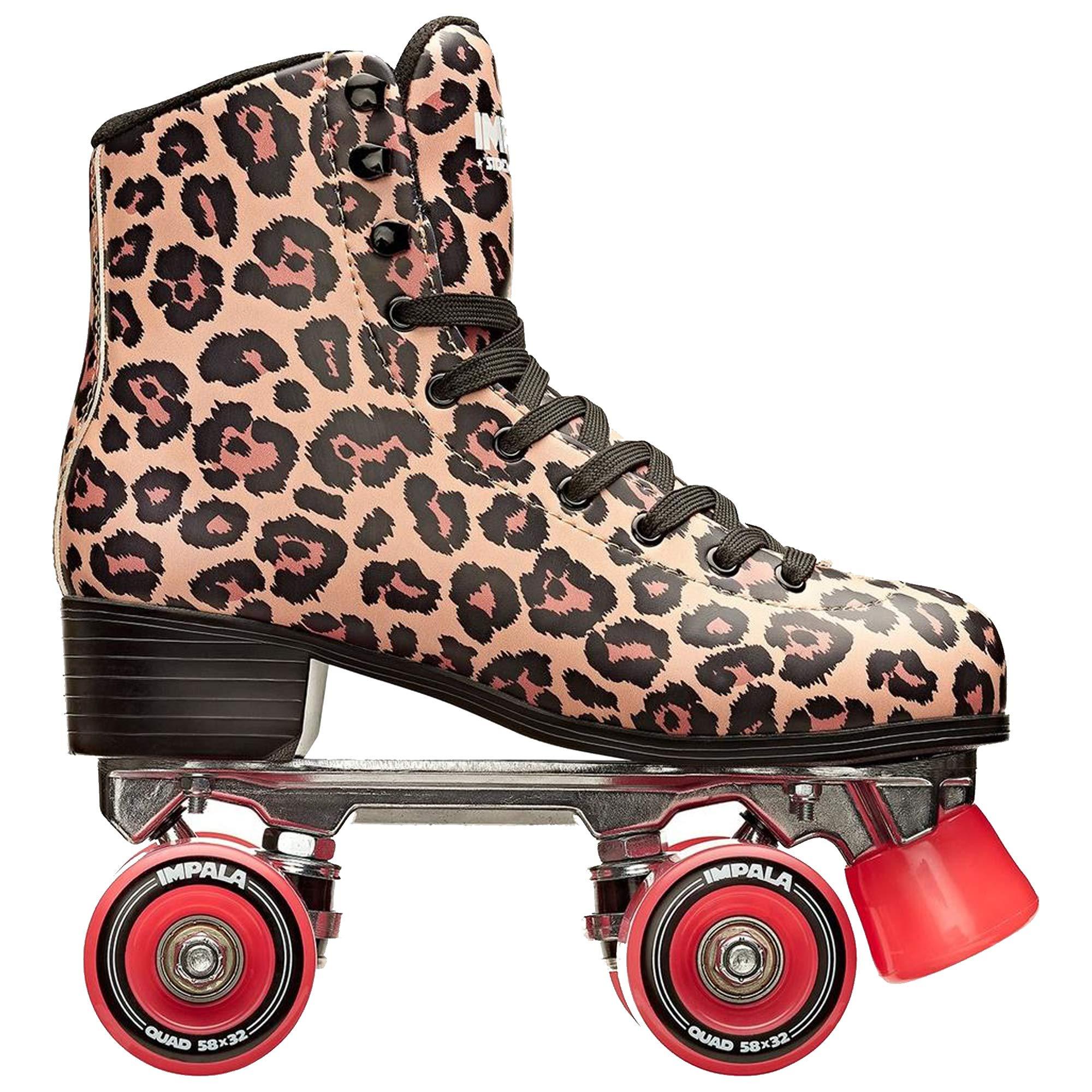 Impala Rollerskates Girl's Impala Quad Skate (Big Kid/Adult) Leopard 9 M