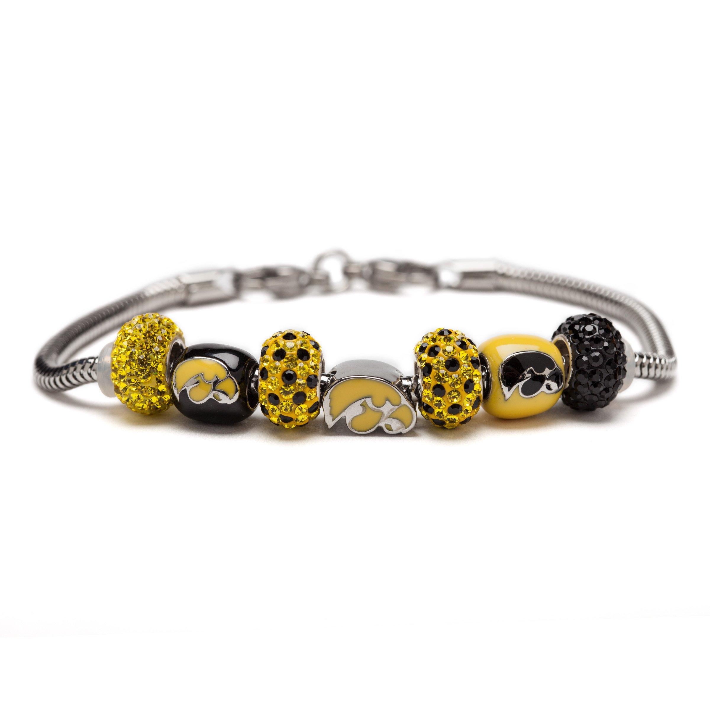Stone Armory University of Iowa Hawkeye Bead Charm Bracelet
