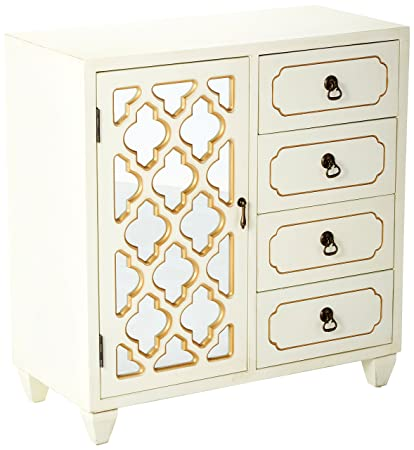 Heather Ann Creations 4 Drawer Wooden Accent Chest And Cabinet, Multi  Clover Pattern Grille With
