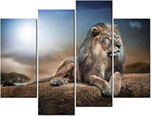 yuanclllp - Animal Paintings Wall Art a Kingly Lion Lying on The Rock 4 Panel Picture Print on Canvas for Modern Home Decoration (Stretched by Wooden Frame)
