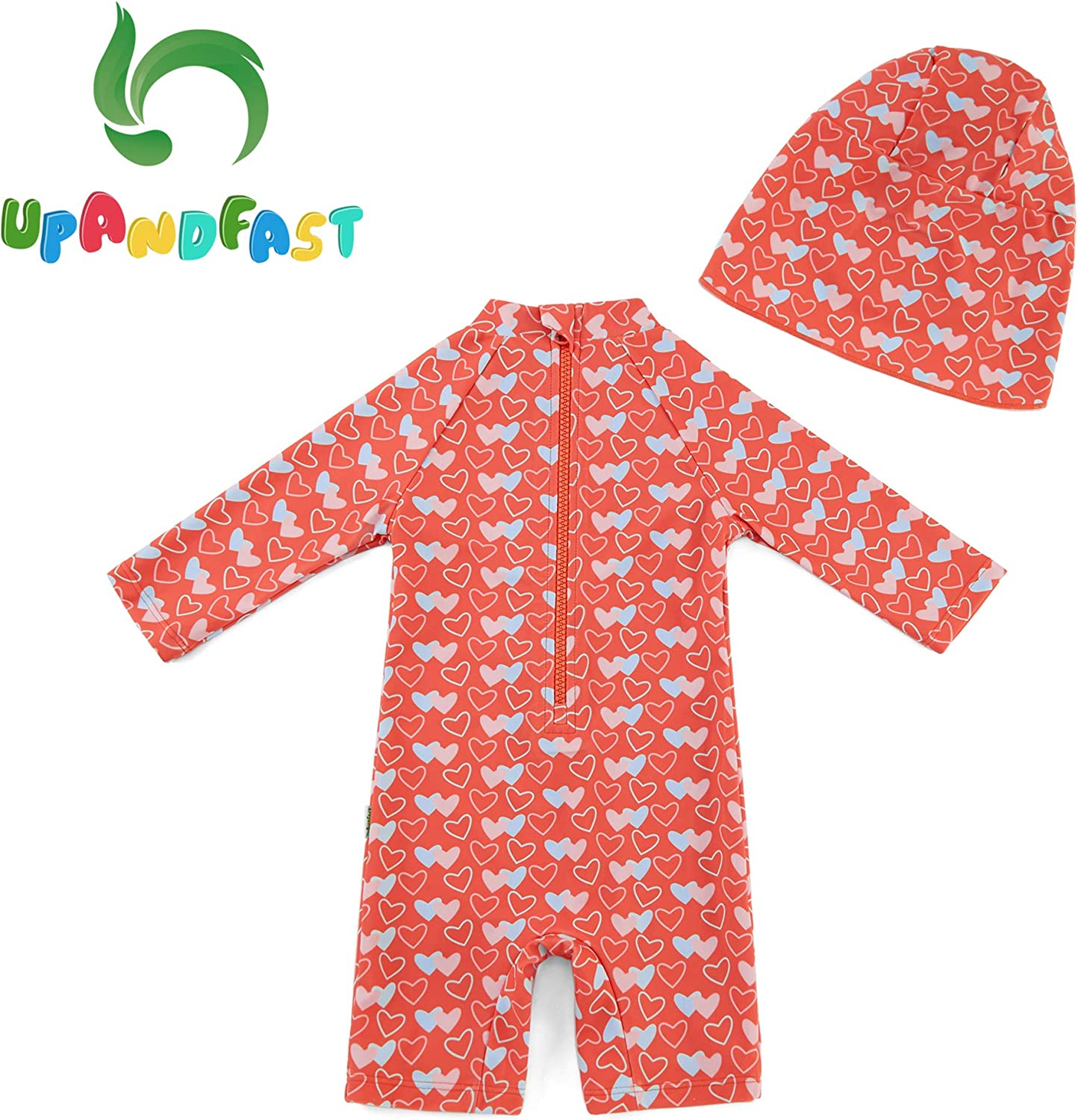 upandfast Baby Girl One Piece Swimwear Suits with Sun Hat Infant Swimsuits UPF 50 Sun Protection