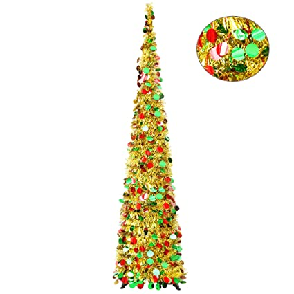 Collapsible Christmas Tree.Collapsible Christmas Trees Yuqi Tinsel Artificial Xmas Tree With Stand 5 Foot Tall For Home Decoration Gold Point