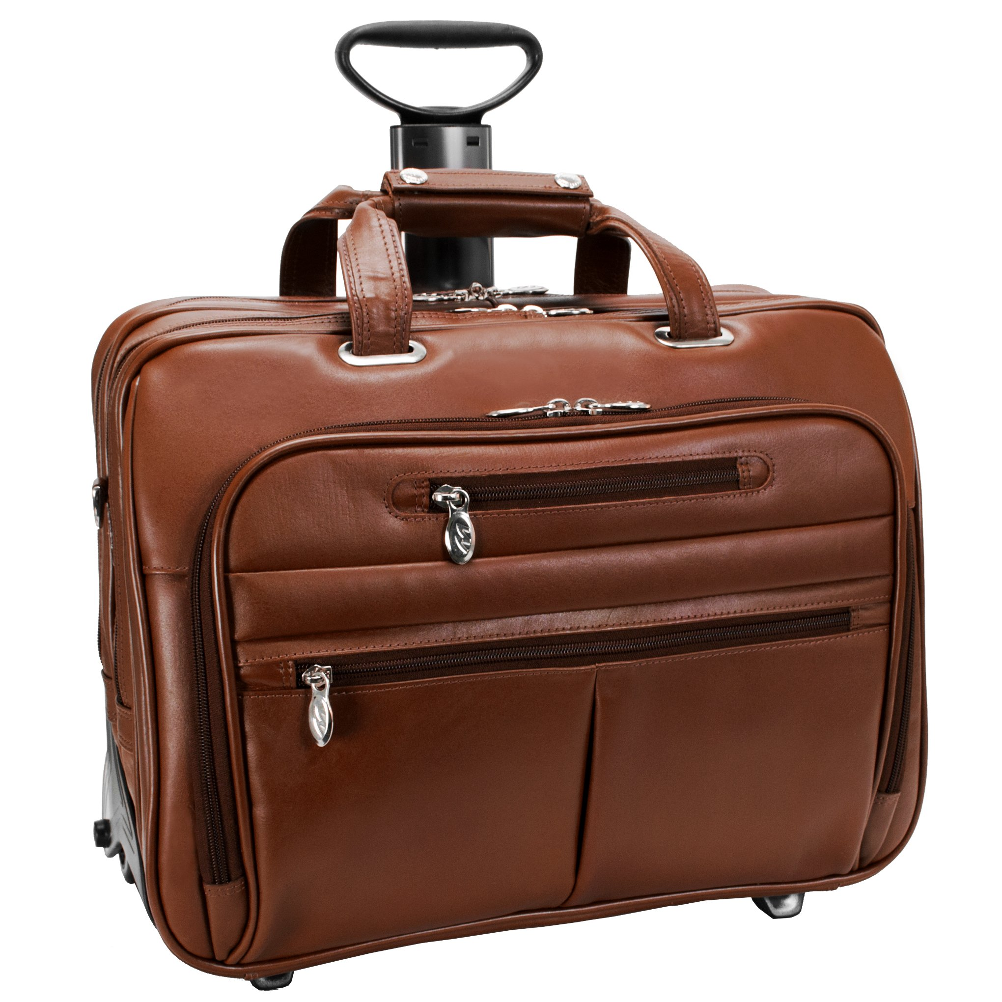 McKleinUSA OHARE 86534 Brown Leather Fly-Through Checkpoint-Friendly 17  Detachable Wheeled Laptop Case