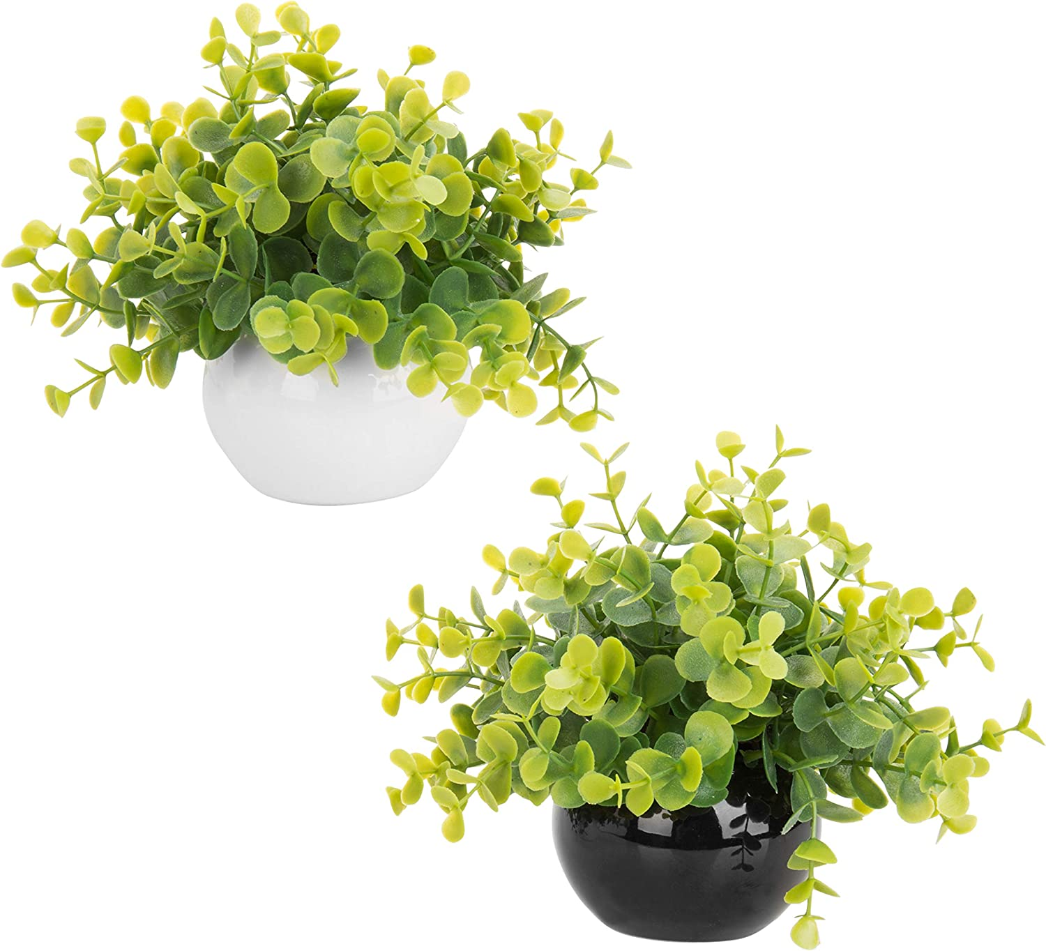 Mygift Artificial Boxwood Plants In Black And White Round Pots Set Of 2 Garden Outdoor