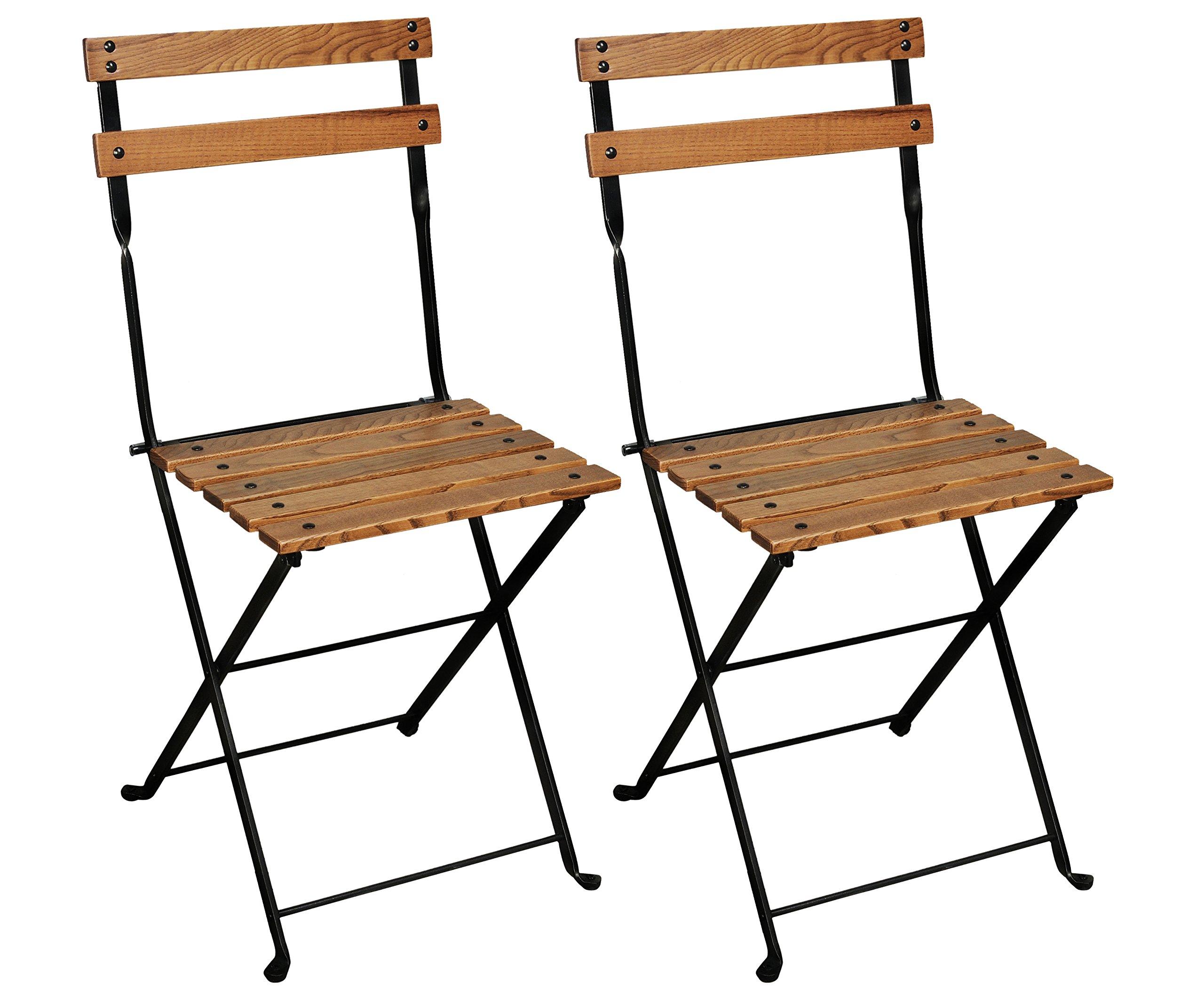 Mobel Designhaus French Café Bistro Folding Side Chair, Jet Black Frame, European Chestnut Wood Slats with Walnut Stain (Pack of 2)