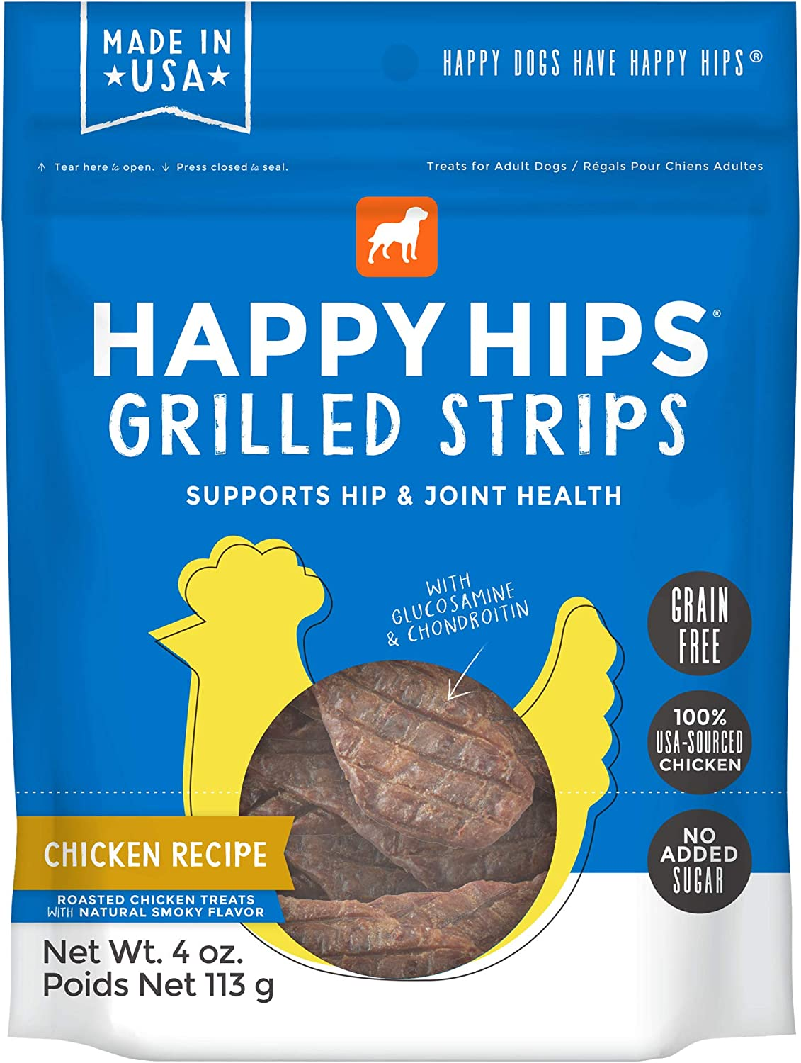 Happy Hips Grain Free Grilled Strips Dog Treats with Glucosamine & Chondroitin - Chicken